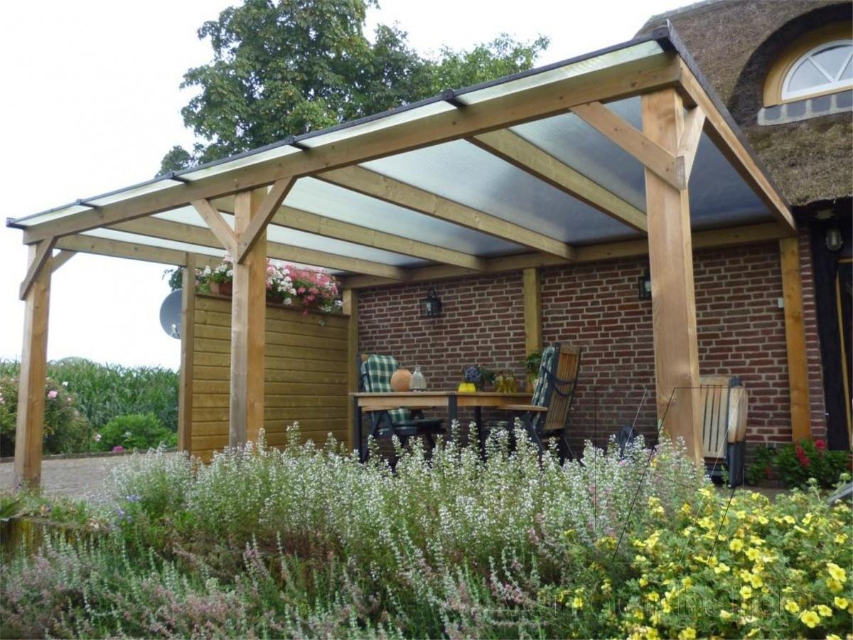 Houten overkapping diverse terassoverkappingen van der heijden - Veranda met dakpan ...