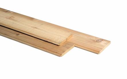 Vellingdeel 18x135mm, een fijnbezaagde zijde, red cedar Tight Knotty