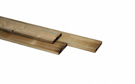 Plank 28x95mm, geschaafd,  geimpregneerd vuren