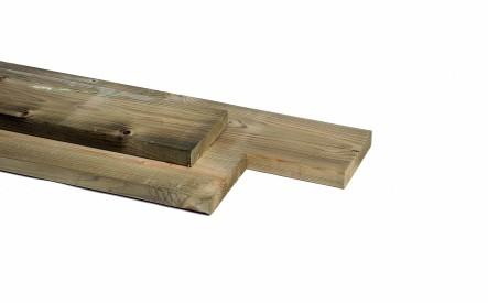 Plank 28x195mm, geschaafd,  geimpregneerd vuren